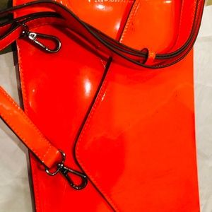 Melie Bianco neon orange Wristlet/ Purse